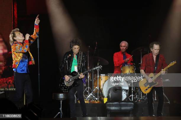 Mick Jagger Ron Wood Charlie Watts and Keith Richards of The Rolling Stones perform at MetLife Stadium on August 05 2019 in East Rutherford New Jersey