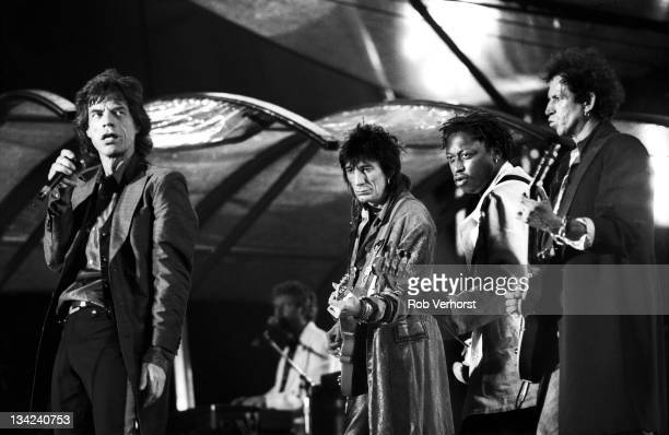Mick Jagger, Ron Wood, Daryl Jones and Keith Richards of The Rolling Stones perform on stage at Feyenoord Stadium, De Kuip, Rotterdam, Netherlands,...