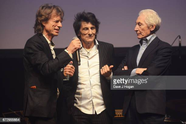 Mick Jagger Ronnie Wood and Charlie Watts of The Rolling Stones attend the Jazz FM Awards 2017 at Shoreditch Town Hall on April 25 2017 in London...