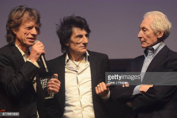 Mick Jagger Ronnie Wood and Charlie Watts of The Rolling Stones accept the award for Album Of The Year Public Vote for their album 'Blue Lonesome' at...