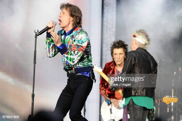 Mick Jagger Ronnie Wood and Keith Richards of The Rolling Stones perform live on stage during the 'No Filter' tour at Twickenham Stadium on June 19...
