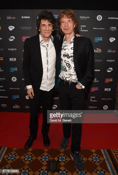Mick Jagger Ronnie Wood attend the Jazz FM Awards 2017 at Shoreditch Town Hall on April 25 2017 in London England