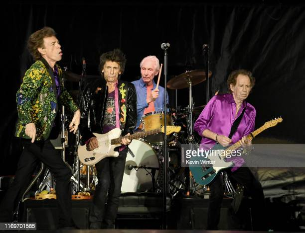 Mick Jagger Ronnie Wood Charlie Watts and Keith Richards of The Rolling Stones perform onstage at Rose Bowl on August 22 2019 in Pasadena California