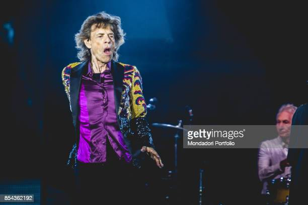 Mick Jagger singer of the british Rock band The Roling Stones performs at Lucca Summer Festival Lucca September 23 2017