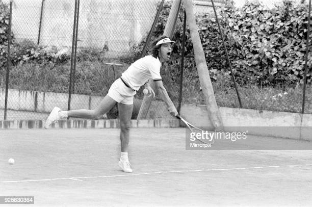 Mick Jagger takes time out to relax in the South of France by playing tennis with fellow band member Ronnie Wood before the start of The Rolling...