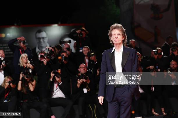 """Mick Jagger walks the red carpet ahead of the """"The Burnt Orange Heresy"""" during the 76th Venice Film Festival at Sala Grande on September 07, 2019 in..."""