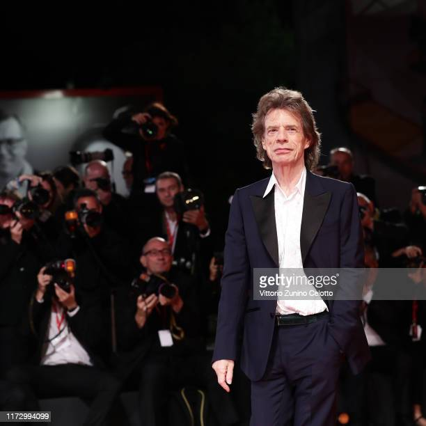 Mick Jagger walks the red carpet ahead of the The Burnt Orange Heresy during the 76th Venice Film Festival at Sala Grande on September 07 2019 in...
