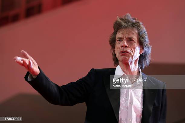 Mick Jagger walks the red carpet ahead of the The Burnt Orange Heresy premiere during the 76th Venice Film Festival at Sala Grande on September 07...
