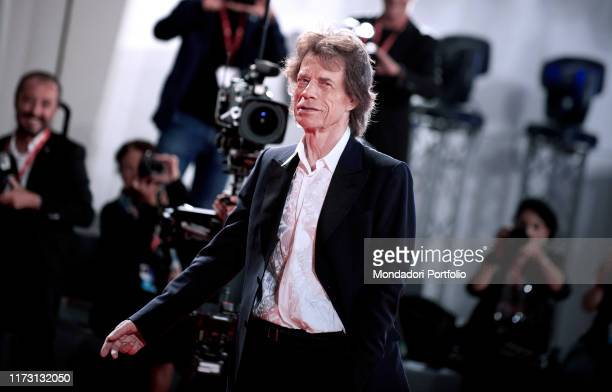 """Mick Jagger walks the red carpet ahead of the """"The Burnt Orange Heresy"""" premiere during the 76th Venice Film Festival at Sala Grande on September 07,..."""