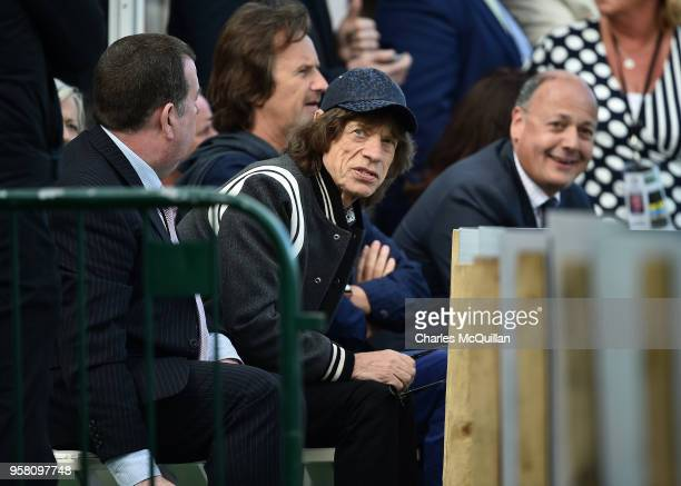 Mick Jagger watches the afternoon's play during the third day of the test cricket match between Ireland and Pakistan on May 13 2018 in Malahide...