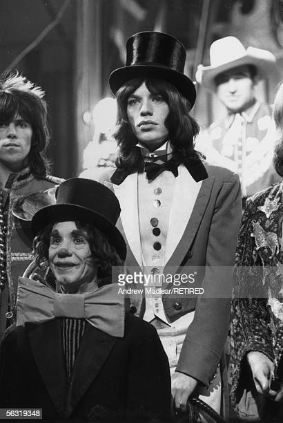 Mick Jagger with Keith Richards in costume at Internel Studios in Stonebridge Park Wembley where a television spectacular 'The Rolling Stones' Rock...