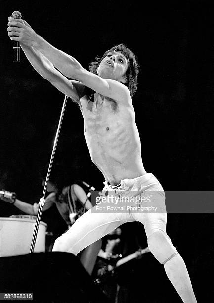 MIck Jagger/Rolling Stones performing at the Hartford Civic Center Nov 91981 Ronnie Wood Keith Richards in the background