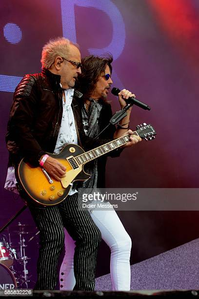 Mick Jones and Kelly Hansen from Foreigner perform during the second day of the Wacken Open Air festival on August 4 2016 in Wacken Germany