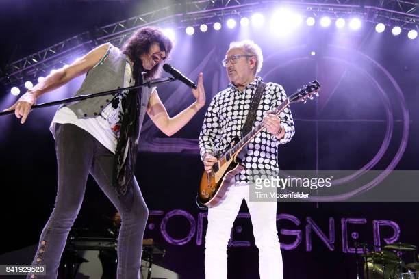 Mick Jones and Kelly Hansen of Foreigner perform in support of the band's Foreigner 40 tour at Toyota Amphitheatre on September 1 2017 in Wheatland...
