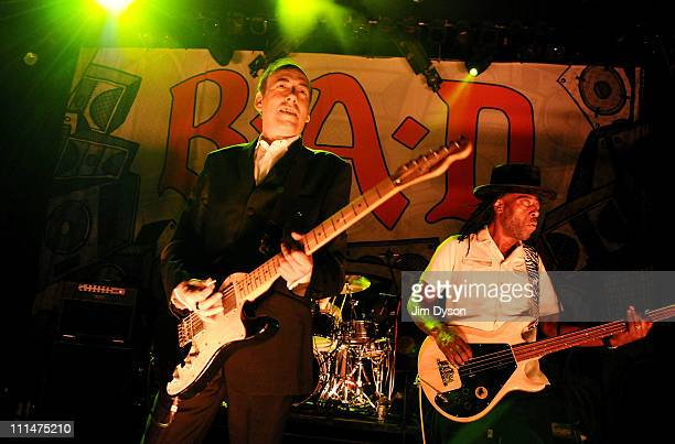 Mick Jones and Leo Williams of Big Audio Dynamite perform live on stage at Shepherds Bush Empire on April 2, 2011 in London, England.