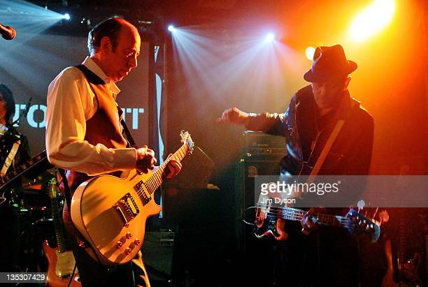 Mick Jones and Paul Simonon of The Clash perform live on stage during the benefit event 'Justice Tonight' in aid of the Hillsborough Justice Campaign...