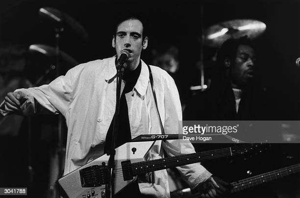 Mick Jones, former lead singer with The Clash, leads Big Audio Dynamite in a performance on TV's 'The Tube', January 1986.