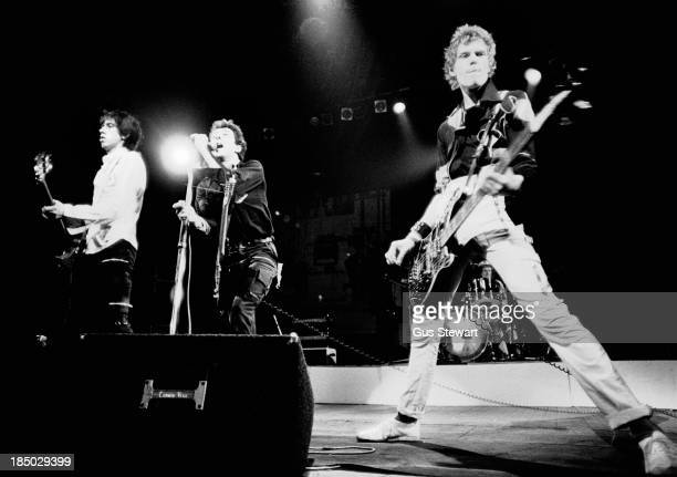 Mick Jones Joe Strummer and Paul Simonon of The Clash perform on stage at The Roxy Harlesden on October 25th 1978 in London