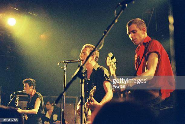 Mick Jones, Joe Strummer and Paul Simonon of The Clash perform on stage at Hammersmith Palais on June 16th, 1980 in London, United Kingdom.