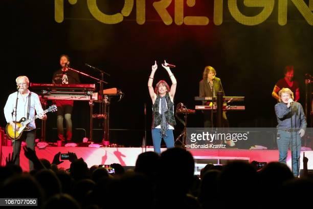 Mick Jones Kelly Hansen and Lou Gramm of Foreigner appear in concert at Hard Rock Hotel Casino Atlantic City on November 30 2018 in Atlantic City New...