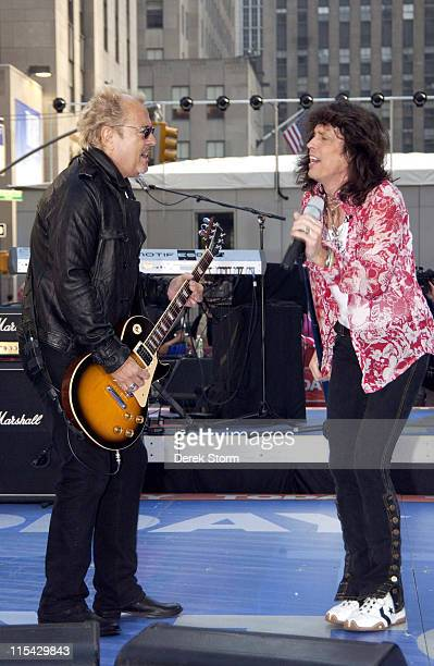 Mick Jones Kelly Hansen of Foreigner during Foreigner Perform on the Today Show May 27 2006 at Dean DeLuca Plaza in New York City New York United...
