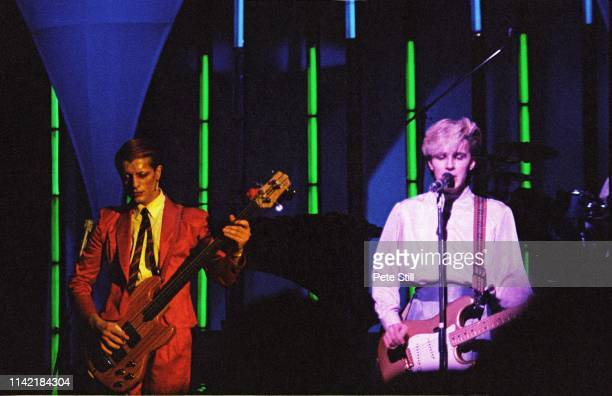 Mick Karn and David Sylvian of Japan perform on stage at Hammmersmith Odeon on November 21st 1982 in London England