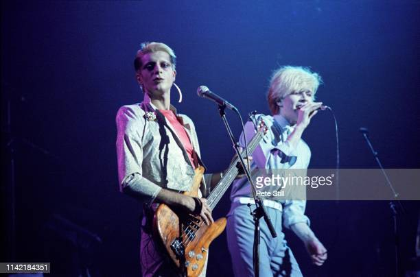 Mick Karn and David Sylvian of Japan perform on stage at Hammmersmith Odeon on May 17th 1981 in London England
