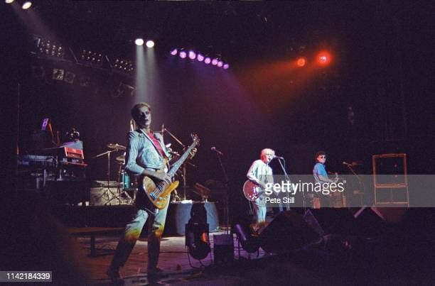 Mick Karn David Sylvian and Rob Dean of Japan perform on stage at Hammmersmith Odeon on May 17th 1981 in London England