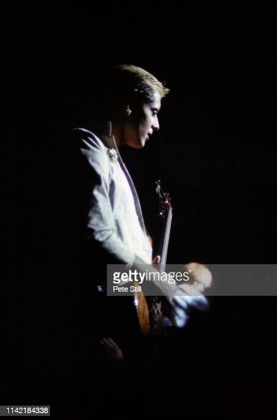 Mick Karn of Japan performs on stage at Hammmersmith Odeon on May 17th 1981 in London England