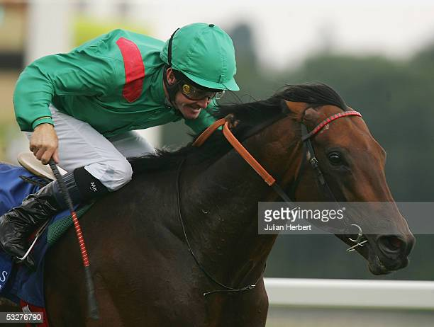 Mick Kinane and Azamour lands The King George VI and Queen Elizabeth Diamond Stakes Race run at Newbury Racecourse on July 23 2005 in Newbury England
