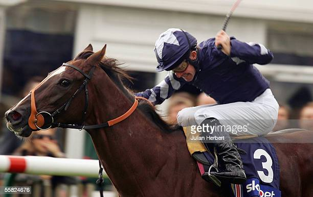 Mick Kinane and Donna Blini land The Sky Bet Cheveley Park Stakes Race run at Newmarket Racecourse on September 29 2005 in Newmarket England