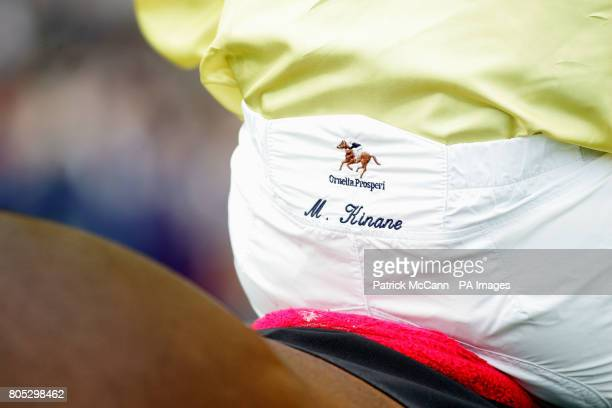 Mick Kinane's name embroidered on his breeches before his win in the Tattersalls Millions Irish Champion Stakes during the Irish Champion Stakes Day...