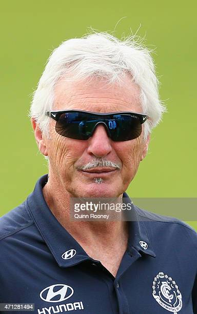 Mick Malthouse the coach of the Blues looks on during a Carlton Blues AFL media session at Ikon Park on April 27 2015 in Melbourne Australia