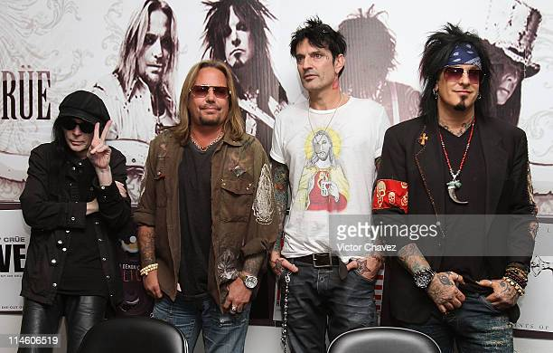 Mick Mars Vince Neil Tommy Lee and Nikki Sixx of Motley Crue attend a press conference before their concert at Palacio de Los Deportes on May 24 2011...