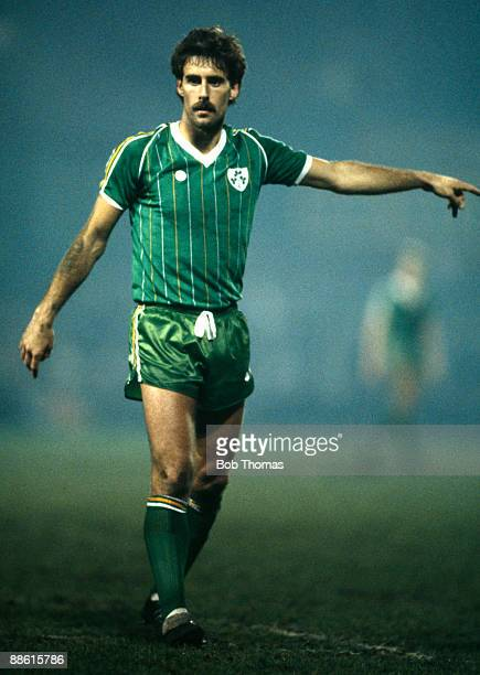 Mick McCarthy during the Republic of Ireland's International friendly against Italy in Dublin, 5th February 1985.