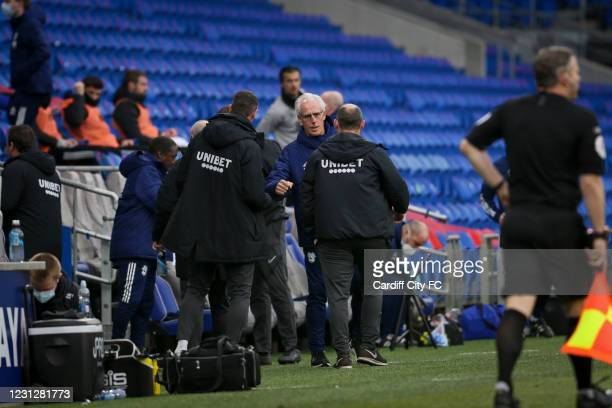 Mick McCarthy, Manager of Cardiff City and Alex Neil, Manager of Preston North End during the Sky Bet Championship match between Cardiff City and...