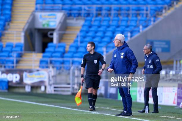 Mick McCarthy, Manager of Cardiff City and Chris Hughton, Manager of Nottingham Forest during the Sky Bet Championship match between Cardiff City and...