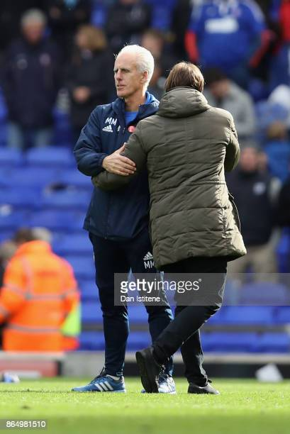 Mick McCarthy manager of Ipswich and Daniel Farke Manager of Norwich City shake hands after the Sky Bet Championship match between Ipswich Town and...