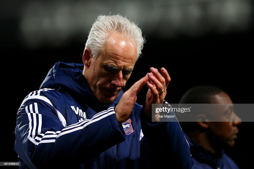 Mick McCarthy, manager of Ipswich applauds the fans after the FA Cup third round replay match between Ipswich Town and Southampton at Portman Road on January 14, 2015 in Ipswich, England.