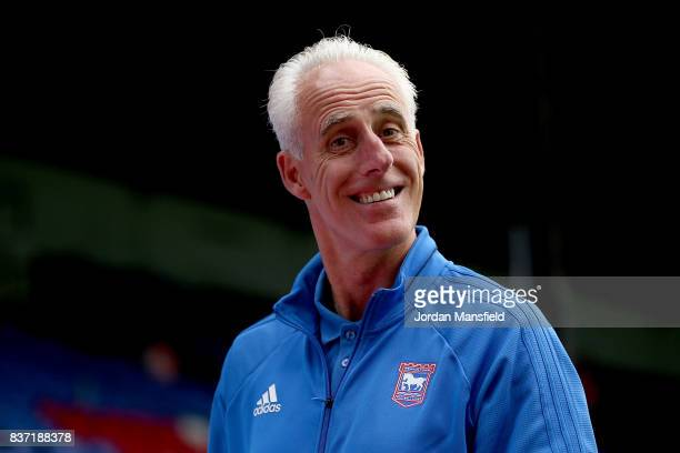 Mick McCarthy manager of Ipswich arrives at the stadium prior to the Carabao Cup Second Round match between Crystal Palace and Ipswich Town at...