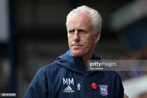 Mick McCarthy manager of Ipswich looks on prior to the Sky Bet Championship match between Ipswich Town and Norwich City at Portman Road on October 22...