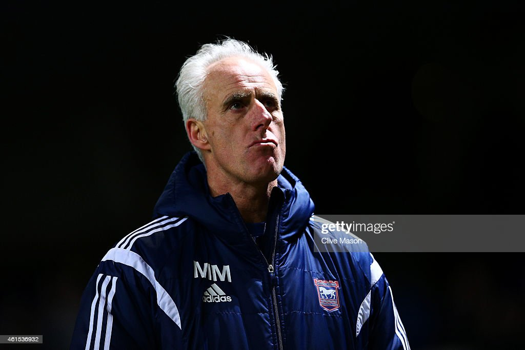 Mick McCarthy, manager of Ipswich reacts after the FA Cup third round replay match between Ipswich Town and Southampton at Portman Road on January 14, 2015 in Ipswich, England.