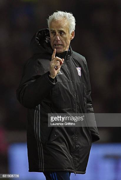 Mick McCarthy Manager of Ipswich Town complains at half time during the Emirates FA Cup third round replay between Lincoln City and Ipswich Town at...