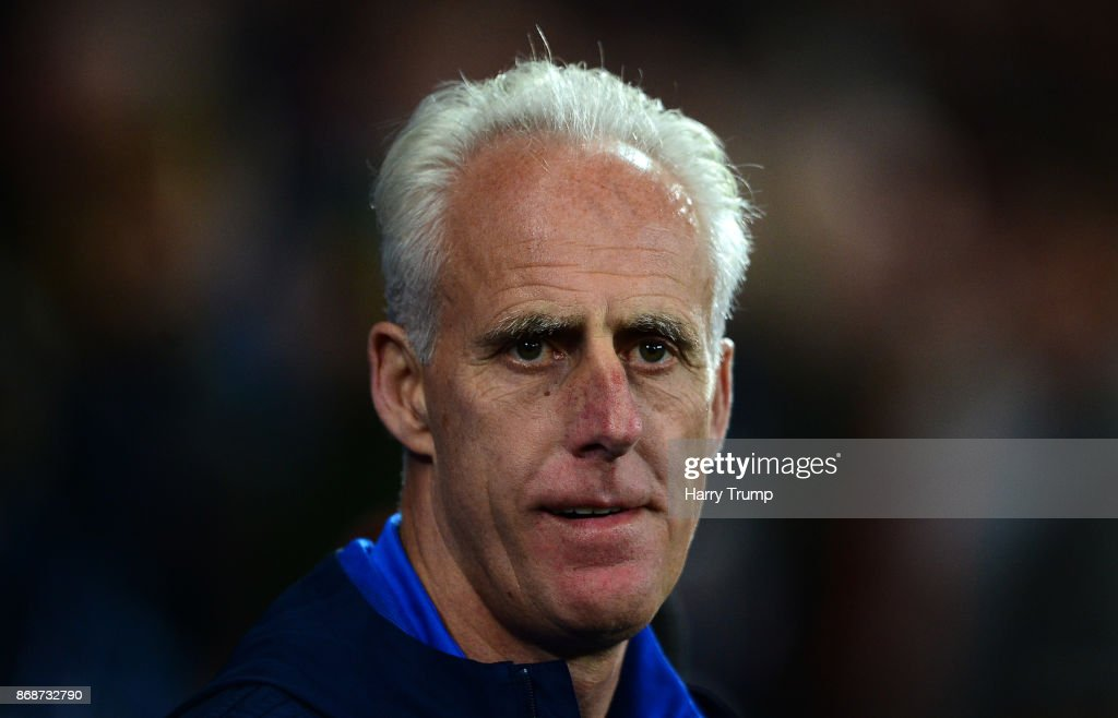 Mick McCarthy, Manager of Ipswich Town during the Sky Bet Championship match between Cardiff City and Ipswich Town at the Cardiff City Stadium on October 31, 2017 in Cardiff, Wales.