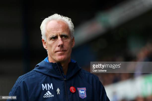 Mick McCarthy manager of Ipswich Town looks on before the Sky Bet Championship match between Ipswich Town and Norwich City at Portman Road on October...