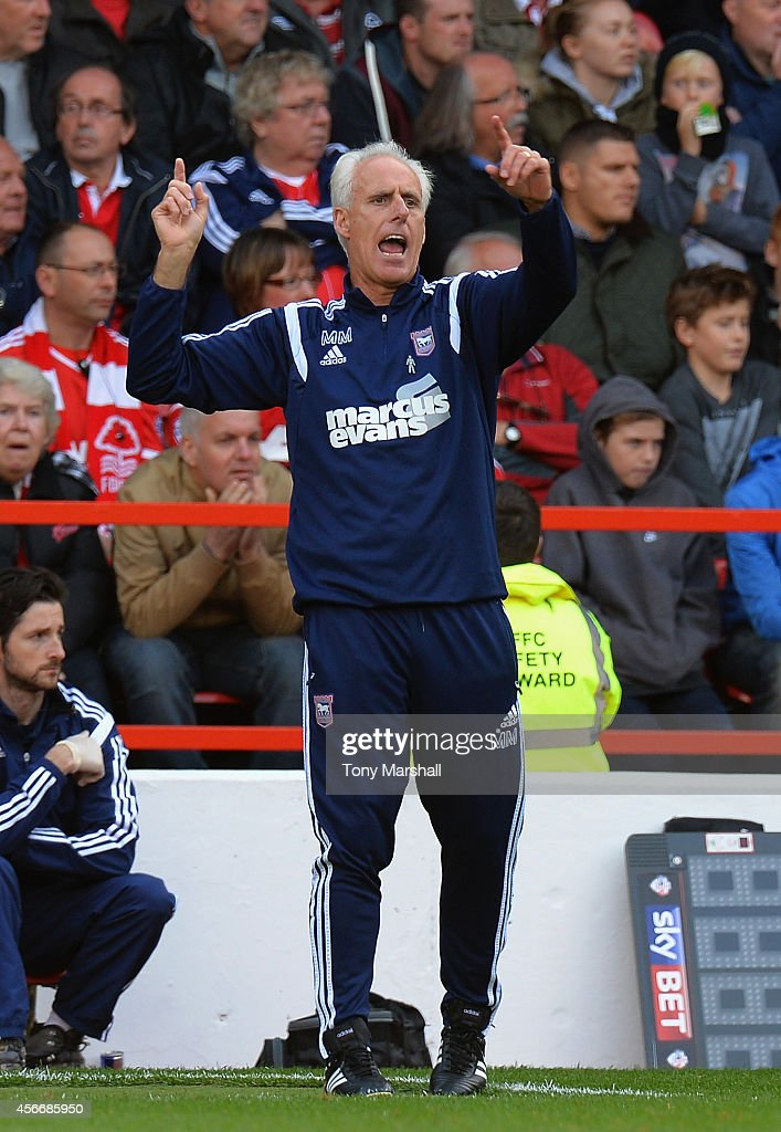 Mick McCarthy, Manager of Ipswich Town shouts his instructiions from the touch line during the Sky Bet Championship match between Nottingham Forest and Ipswich Town at City Ground on October 5, 2014 in Nottingham, England.