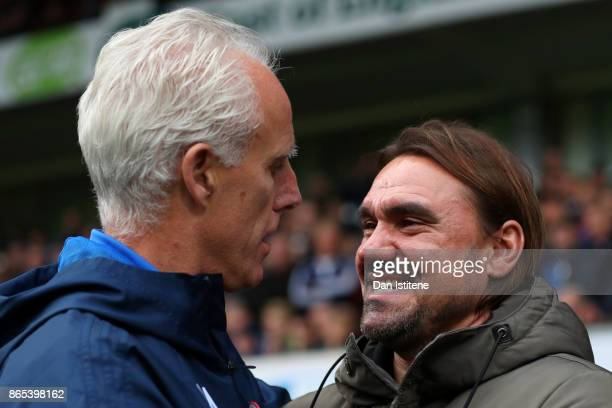 Mick McCarthy manager of Ipswich Town speaks with Daniel Farke manager of Norwich City before the Sky Bet Championship match between Ipswich Town and...