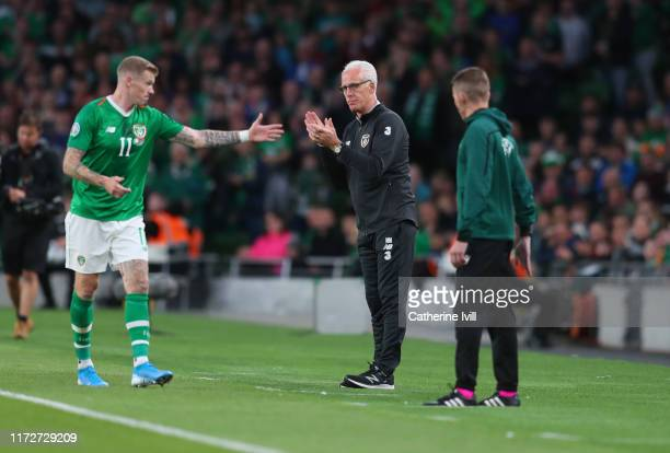 Mick McCarthy manager of Republic of Ireland during the UEFA Euro 2020 qualifier between Republic of Ireland and Switzerland at Aviva Stadium on...
