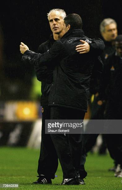 Mick McCarthy the Wolverhampton Wanderers manager embraces Roy Keane the Sunderland manager at the end of the CocaCola Championship match between...