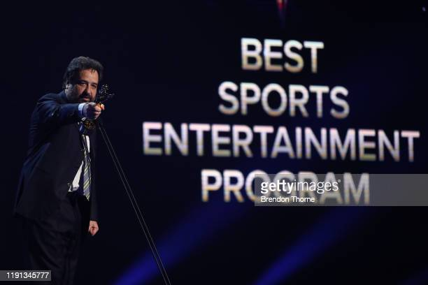 Mick Molloy accepts an AACTA Award for Best Sports Entertainment Program during the 2019 AACTA Awards Presented by Foxtel | Industry Luncheon at The...